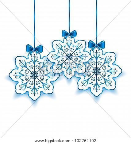 Set Christmas paper snowflakes with bow isolated on white backgr