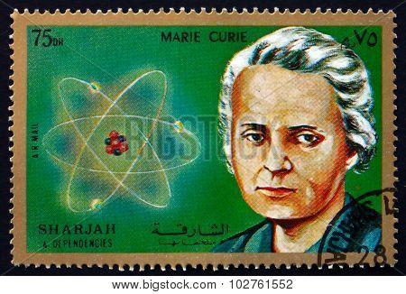 Postage Stamp Sharjah 1972 Marie Sklodowska Curie