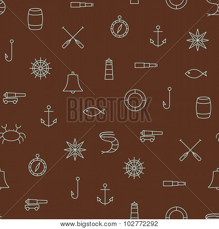 Marine Line Icons Seamless Vector Pattern On Brown Background
