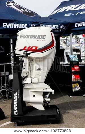 NORWALK, CT - SEPTEMBER 25: Evinrude E Tec boat engine at Norwalk boat show in September 25, 2015 in Norwalk, CT.