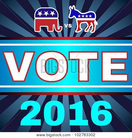 Election Day 2016 Campaign Ad Flyer. Elephant versus Donkey. Social Promotion Banner. American Flag's Symbolic Elements - Red Stripes and White Stars. Digital vector illustration. poster