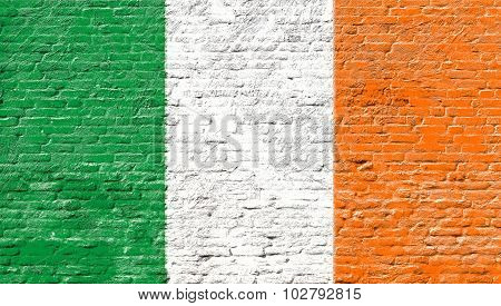 Ireland - National flag on Brick wall