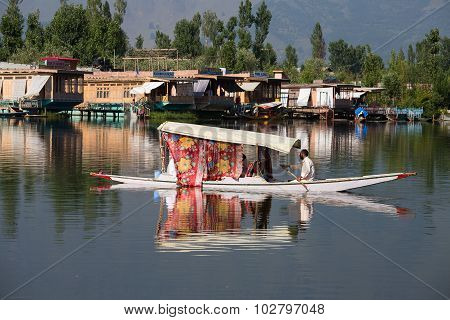 Wooden Boat And Indian People In Lake. Srinagar,  India