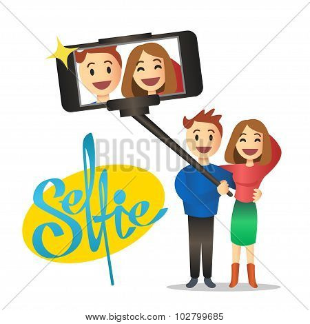Young Couple Making Self Portrait Using Selfie Stick. Vector.