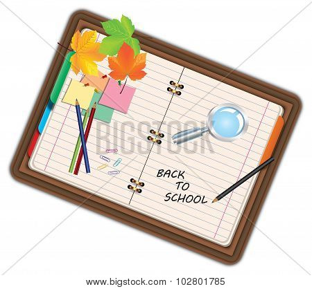 Image Of Notebook, Pocketbook, Diary With Sign Back To School And School Supplies, Equipment, Access