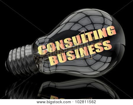 Consulting Business - lightbulb on black background with text in it. 3d render illustration. poster
