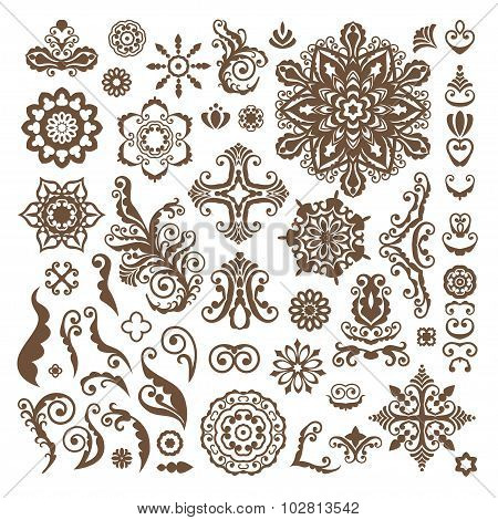 Abstract Floral Illustration Design Elements On White Background. Henna Tattoo.