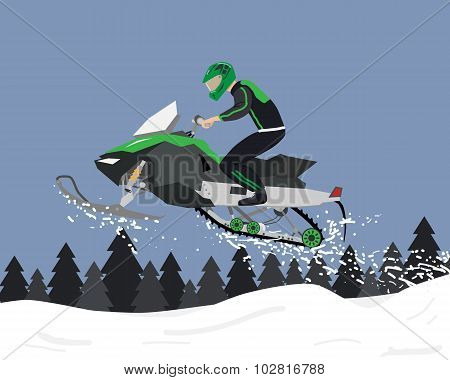 The man is engaged in extreme sports on a snowmobile. Vector illustration