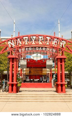 CHICAGO, ILLINOIS - AUGUST 22, 2015: Navy Pier Beer Garden. Navy Pier is a 3,300-foot-long pier on the Chicago shoreline of Lake Michigan.