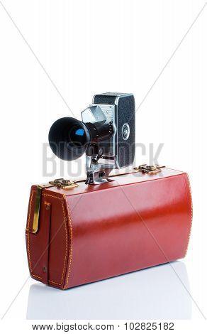 Vintage camera with case