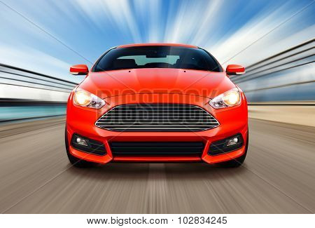 sport race car on speed track - motion blur