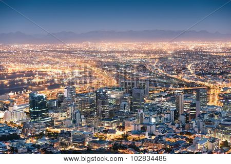 Aerial View Of Cape Town From Signal Hill After Sunset During The Blue Hour - South Africa Modern Ci