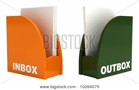 Inbox and Outbox, Isolated on White, Clipping Path Included