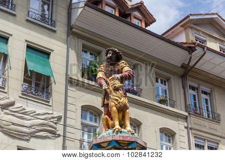 Statue Of The Samson Fountain In Bern, Switzerland