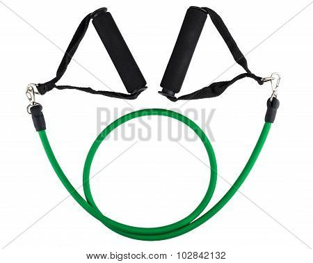 Green Tubular Rubber Expander Isolated On White