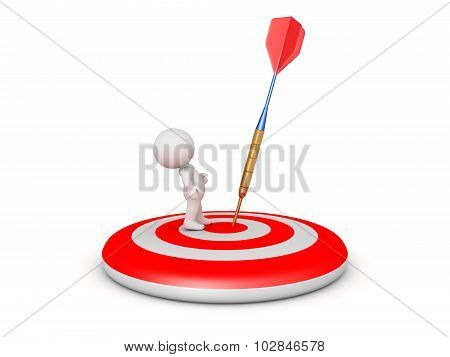 3D Character On Target With Dart Arrow Close