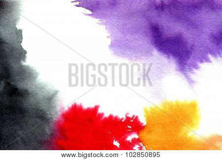 Abstract Violet-black-red-orange Watercolor Splashes