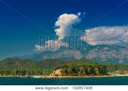 Turkish landscape with Olympos mountain