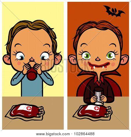 Funny Cartoon Boy Drinking Blood. Vector Illustration