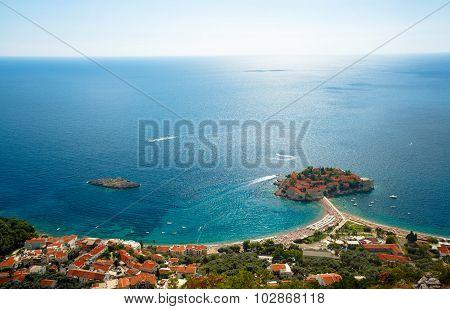 Sveti Stefan island in Budva Montenegro Balkans poster