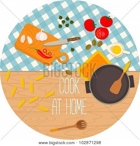 Flat design food and cooking round banner.