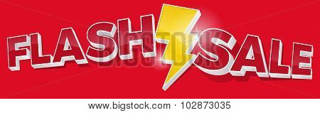 3D Flash Sale And Lightening Bolt Promotional Sign Landscape