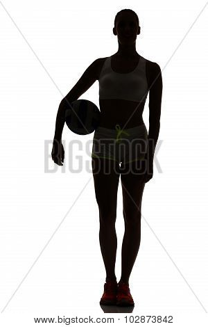 One Woman Beach Volley Ball Player Silhouette In Studio Silhouette Isolated