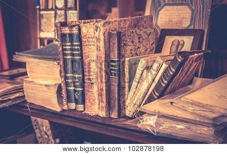 Antique Books In Antiquarian Bookshop