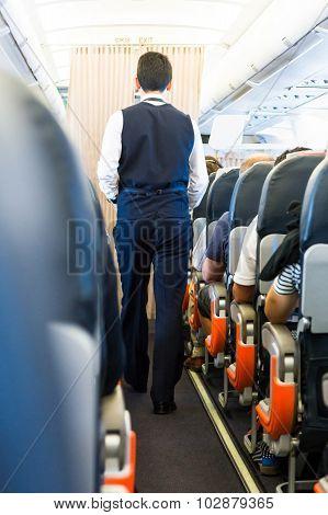 Airplane interior.