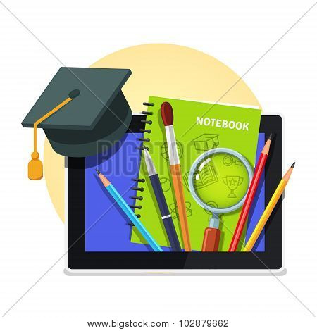 Modern education concept. Tablet computer
