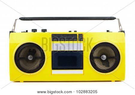 Retro Yellow Ghetto Blaster Isolated