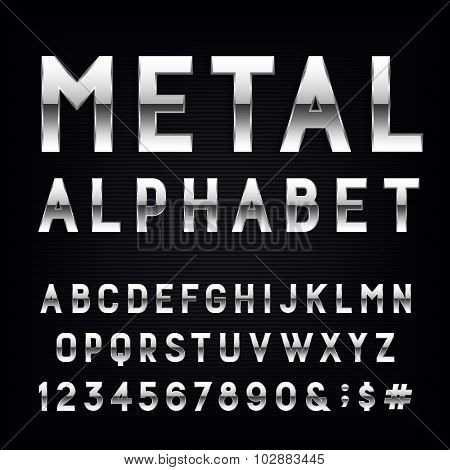 Metal Alphabet Vector Font.