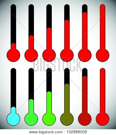 Simple Thermometer Graphics For Temperature, Level, Climate, Coldness, Hotness Concepts.