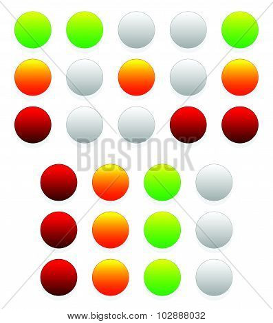 Set of traffic lights lamps signals. Green yellow and red light. poster