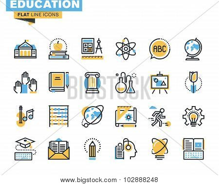 Flat line icons set of education proces
