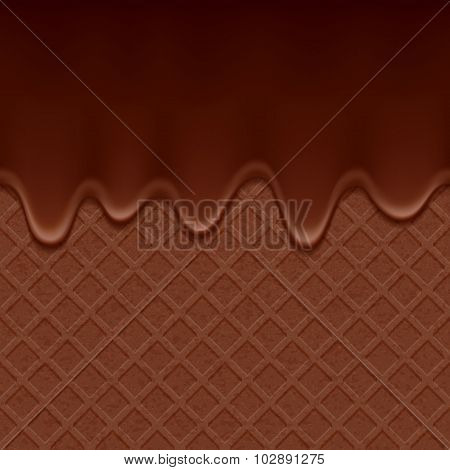 Chocolate wafer and flowing chocolate - vector background.