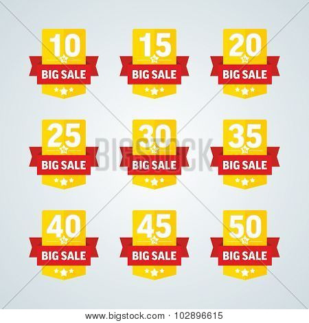 Big sale 10-50 percent yellow badge with red ribbon. Vector illustration.