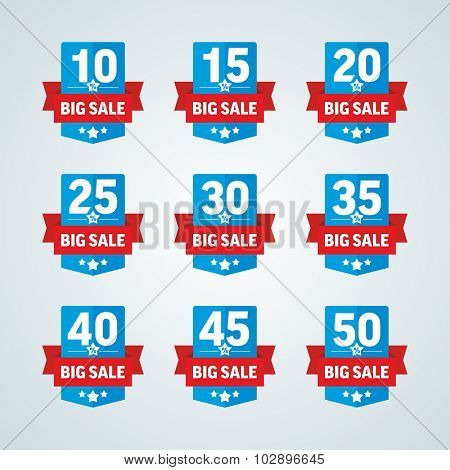 Big sale 10-50 percent blue badge with red ribbon. Vector illustration.