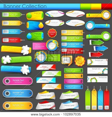 illustration of colorful banner jumbo collection for header and promotional activity poster