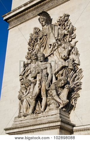 Close up detail of La Paix de 1815 sculpture on the base of the Arc de Triomphe in Paris France poster