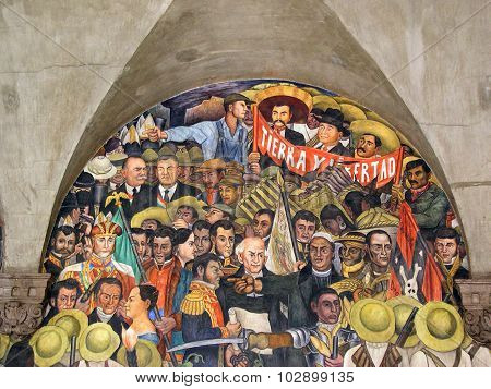 Mexico city, Mexico - August, 10 2005: Murales of Diego Rivera at government palace in Mexico city