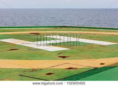 Old Helicopter Landing Area,sea,cloud Sky Background.