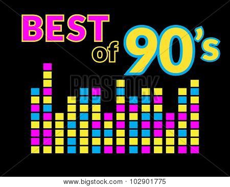 Best of 90s illistration with colourful equalizer on black background poster