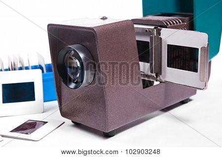 Close Up View Of Retro Cine-projector On The White Background.