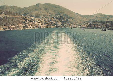 Greece. Island Symi (simi). Mandraki Harbor. In Instagram Style Filtered