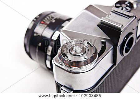 Close Up View Of Old Retro Photo Camera On White Background.