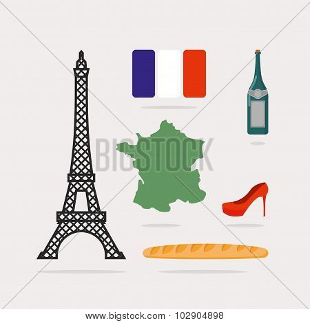 Icons Symbols Of France. Eiffel Tower And Map Country. Baguette And Bottle Of Wine. French Flag And