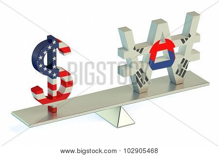 Dollar Or South Korean Won, Usd/krw Balance Concept