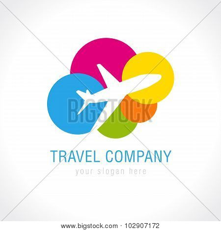 Travel company logo. World travel airplane abstract vector icon. Low cost airlines, tickets selling, tourist business. Flying plane, colored clouds. poster