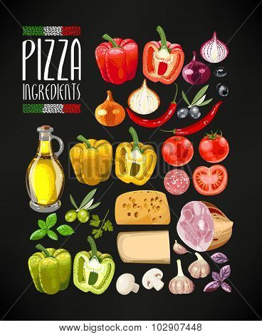 Set of pizza ingredients